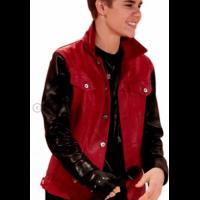 Justin Bieber Black Sleeves Red Jacket