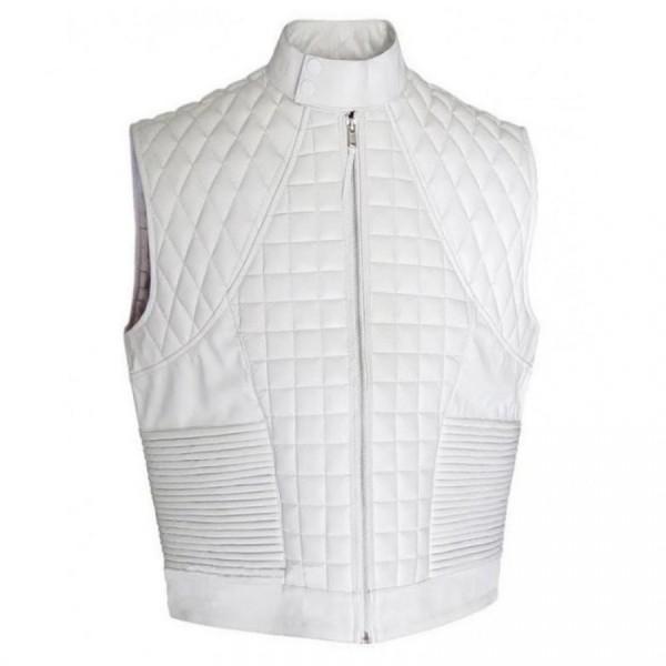 Justin Bieber Quilted Design White Leather Vest