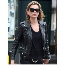 Kate Moss Black Leather Biker Jacket