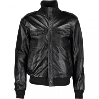 Long Neck Black Bomber Leather Jacket