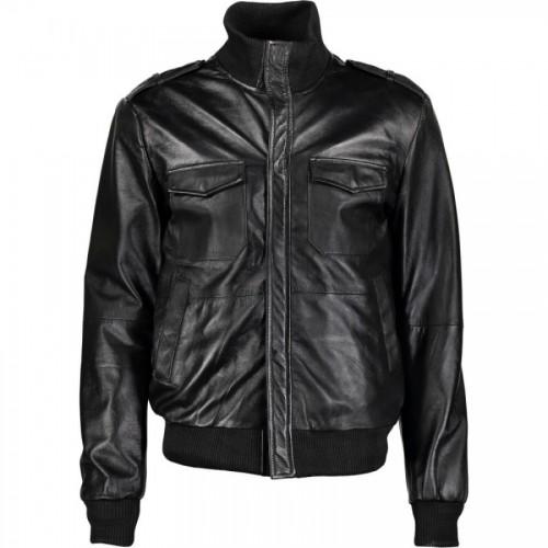 Long Neck Black Bomber Leather Jacket