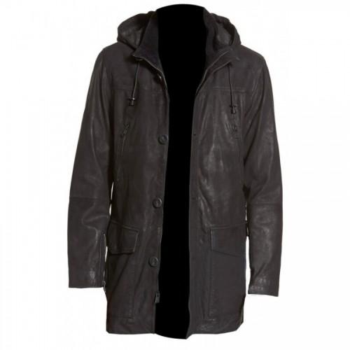 Longline Black Hooded Leather Coat