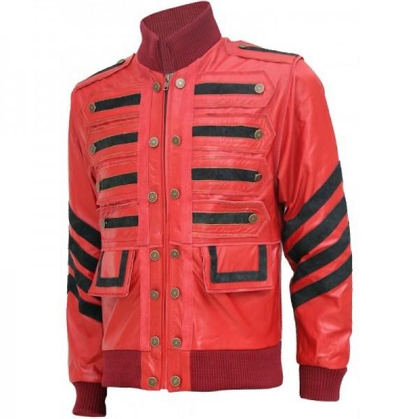 Maroon Bomber Military Leather Jacket