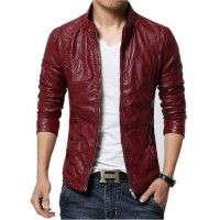 Maroon Styler Slim Leather Jacket