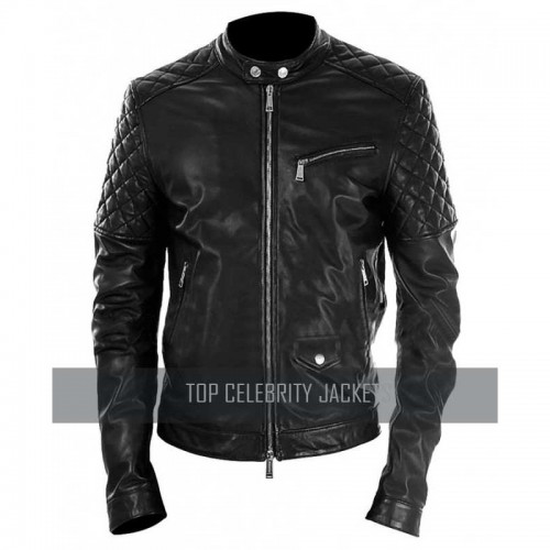 Men Black Leather Motorcycle Leather Jacket