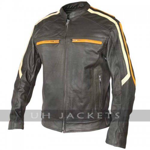 Men Classic Cafe Racer Motorbike Leather Jacket