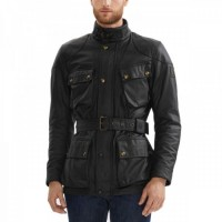 Men Front Black Pocket Leather Jacket