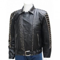 Men Studded Black Leather Jacket