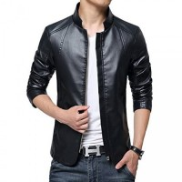 Men in Black Leather Jacket