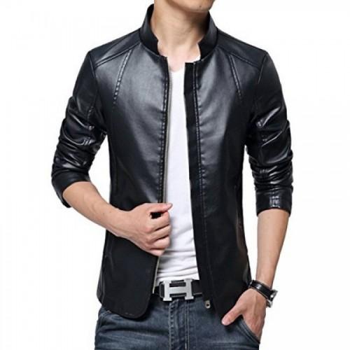 Men in Black Leather Jacket