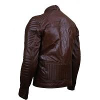 Mens Dubble Zipper Pocket Brown Leather Jacket