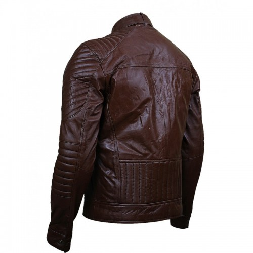 Mens Dubble Zipper Pocket Brown Leather Jacket