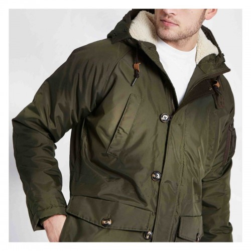 Mens Lee Dark Green  Fur Trim Parka Jacket