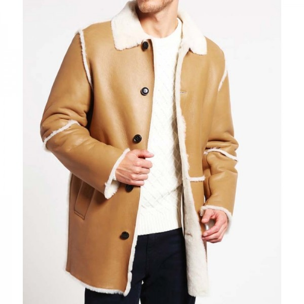 Mens Tan Brown Shearling Car Coat