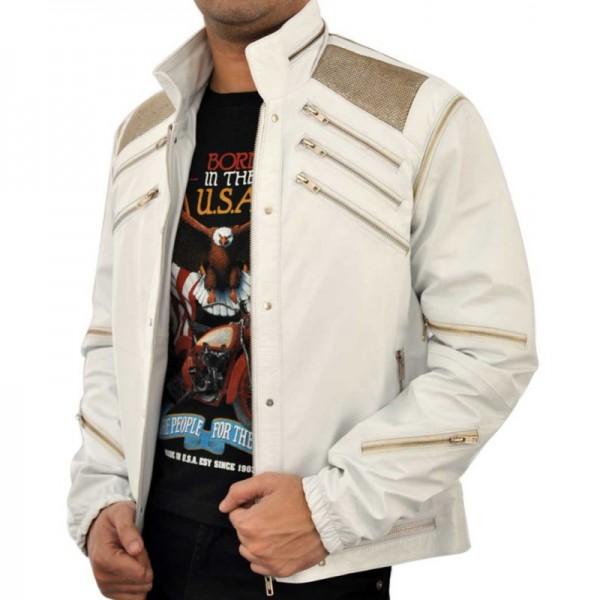 Michael Jackson Beat-IT White Leather Jacket