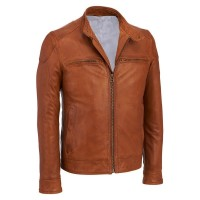 Plane Brown Long Sleeve Leather Jacket
