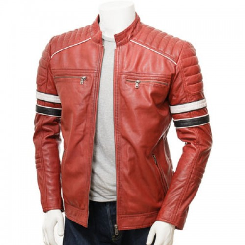 Red Retro Racing Leather Jacket