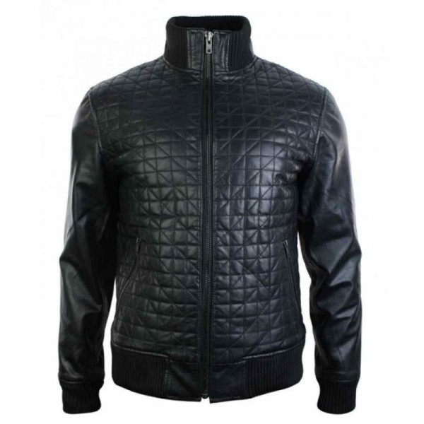 Retro Slim Fit Black Quilted Bomber Jacket