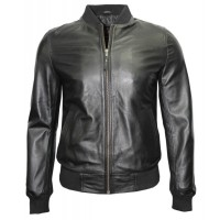 Silver Mens Biker Bomber Leather Jackets