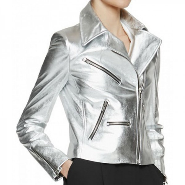 Silver Stylish Leather Jacket For Women