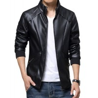 Simple Design Black Leather Jacket