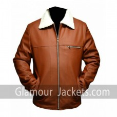 Tan Brown Faux Shearling Leather Jacket