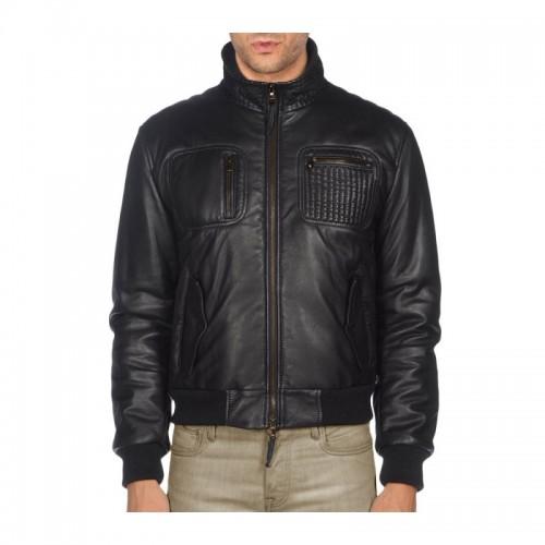 Texture Pocket Black Leather Jacket