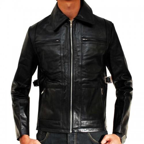 Troy Classic United Four Pocket Black Leather Jacket