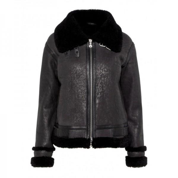 Women Black Distressed Shearling Jacket
