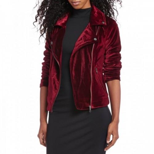 Women Maroon Leather Jacket