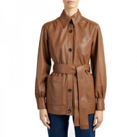 Women Short Brown Leather Coat