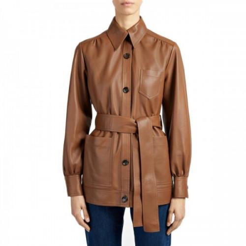 Women Short Brown Leather Coat