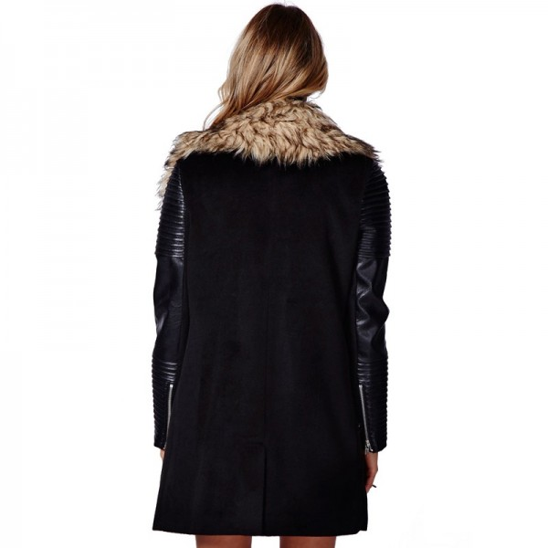 Women's Faux Leather Coat Lined with Vogue Faux Fur