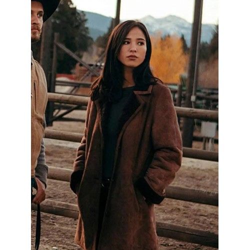 Yellowstone Kelsey Asbille Suede Leather Coat