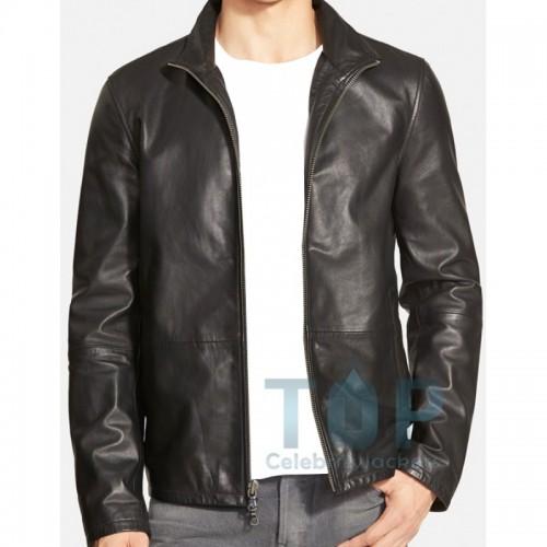 Zip Front Stylish Black Leather Jacket