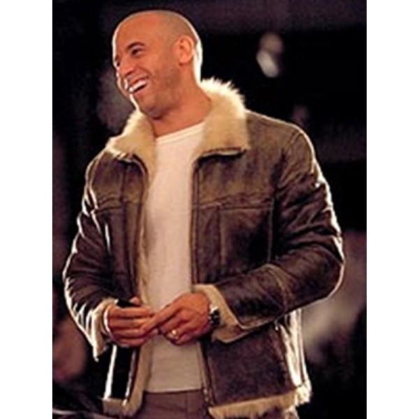 Vin Diesel Movie XXX 2002 Fur Black Leather Jacket
